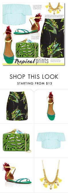 """Pineapple flavored set"" by alialeola ❤ liked on Polyvore featuring Proenza Schouler, Aquazzura, Sarah's Bag, New Look, tropicalprints and hottropics"