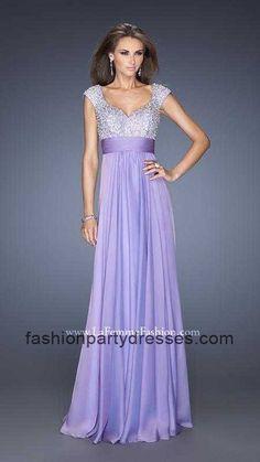 La Femme 20003 Glittering Empire Bodice Open Back Chiffon Gown For Prom