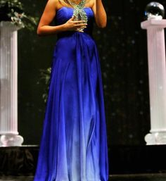 www.pageantresale.com - Royal blue chiffon Sherri Hill gown with hombre tendencies towards the bottom. Click for more details or to contact the seller.  Have something to sell?  Visit www.pageantresale.com to get started!  #sherrihill #pageantgown #pageantresale