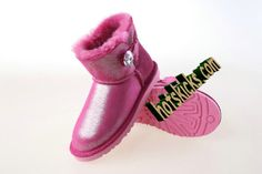Ugg Mini Bailey Button Bling Rose Pink Boots       #cheap #nike #free