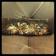 Black house white market beaded clutch Black with gold sequins and glass beads, small evening bag Black house white market Bags Clutches & Wristlets