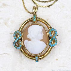 Antique Cameo - 18k Victorian Turquoise & Shell Cameo Necklace, Cupid Cherub Angel Necklace, Victorian Pendant Antique Jewelry Cameo Brooch by HeartofHeartsJewels on Etsy