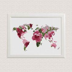 Mundo   Mapa Punto de cruz Patrón   Floral Mundo   Mapa