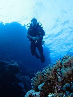 Diver in  a reef formation at Halahi Reef, Red Sea, Egypt #SCUBA #UNDERWATER #PICTURES by Derek Keats, via Flickr