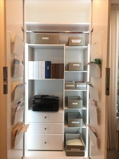 We turned this clothes closet into a functional office. www.havenhome.la
