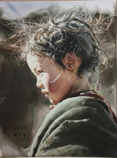 Western Child by Liu Yun Sheng.  Again, another fine example of the amount of realism that one can attain with watercolors.