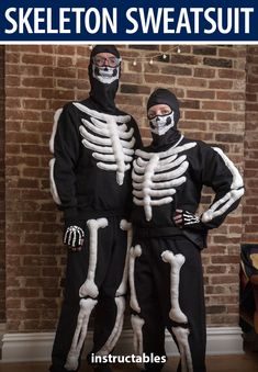 This comfy, plushie-style skeleton sweatsuit costume is the perfect costume for a cool Halloween night. #Instructables #sewing #bodysuit #skull #bones