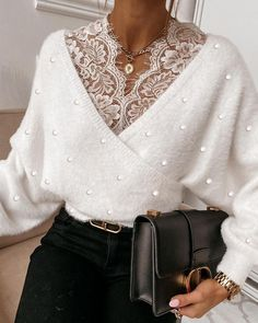Knit Fashion, Sweater Fashion, Love Fashion, Womens Fashion, Chic Type, Zara Outfit, Ladylike Style, Lace Crop Tops, Winter Fashion Outfits