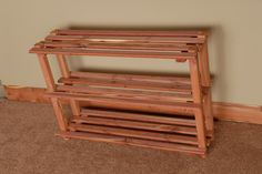Aromatic Red Cedar 3 Tier Shoe Rack •Made in the U.S.A •Environmentally Friendly •Naturally absorbs musty odors •Easy Assembly (Great DIY) •Hardware and instructions included •Natural insect repellant