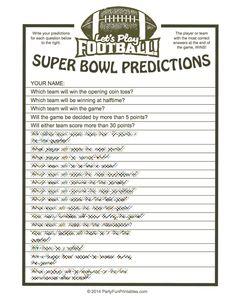 Super Bowl Party Game Printout