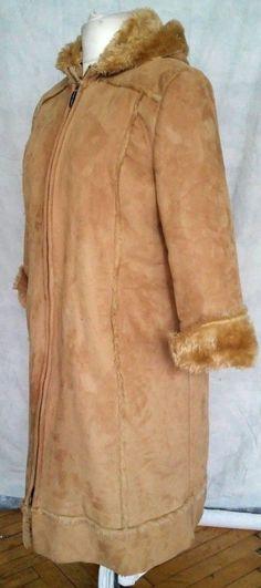 Carlo Cecci Light Brown Hooded Long Faux Sheepskin Coat Lined with Faux fur Sz44 #CarloCecci #BasicCoat #coat #fauxleather #eBay #Fashion