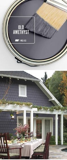 Designer Paint Color Pick Best Dark Grey Exterior Paint Color Behr Old Amethyst…. Designer Paint Color Pick Best Dark Grey Exterior Paint Color Behr Old Amethyst. I would like this as a trim color with white or off white. Exterior Gris, Exterior Gray Paint, Exterior Paint Colors For House, Paint Colors For Home, Exterior Colors, Exterior Design, Exterior Shutters, Door Design, Cafe Exterior