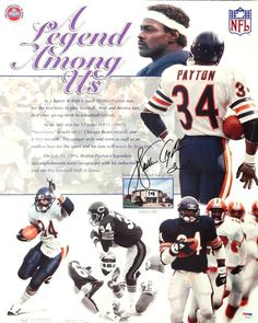 Walter Payton Autographed 16x20 Legend Photo Poster PSA/DNA