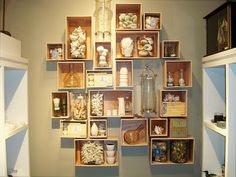 A creative way to use drawers or boxes to display collections.