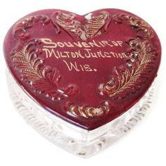 Antique Ruby Flash Glass Souvenir Of Wisconsin  Heart Trinket Box by EraAntiquesandFinds on Etsy