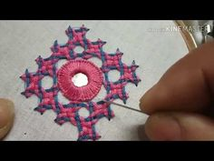 stitch motif with mirror on centre (Hindi/Urdu) Chain Stitch Embroidery, Hand Embroidery Videos, Hand Embroidery Flowers, Embroidery Stitches Tutorial, Hand Work Embroidery, Diy Embroidery, Indian Embroidery, Embroidery Needles, Border Embroidery Designs