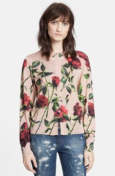 Dolce&Gabbana+Rose+Print+Silk+Cardigan+available+at+#Nordstrom