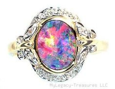 Pink Opal engagement rings   Harlequin Black Opal 16 Diamonds 14k Gold Ring RARE Floral Australian ...
