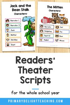 Your students will love these readers theater sripts that are based on popular folktales and fairy tales. They were written specifically for kindergarten, 1st grade and 2nd grade. Color-coded text boxes make it easy for students to follow along. They are perfect for guided reading or partner reading. You can also use them to help students build fluency and expression while they read or for an end of the year classroom play. Reading Fluency, Reading Activities, Guided Reading, First Grade Reading, First Grade Classroom, Partner Reading, Readers Theater, Number Sense, Sight Words