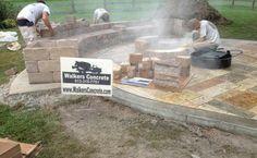 Stamped Concrete Patio with Seating Walls Cincinnati Ohio