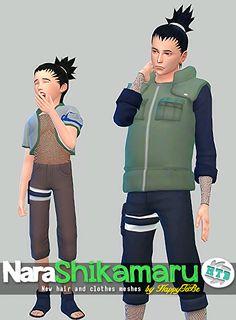 New hair and clothes meshes inspired by the character of Naruto, Shikamaru Nara. http://jappytobe.tumblr.com/post/118514301523/narashikamaru