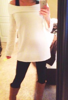 Cream tunic Victoria's Secret, black tank top kohls, leggings black h, lucky brand boots :) outfit for the day!
