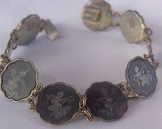 VTG Silver Gold Damascene DECO Bracelet SIGNED JAPAN Komai Shakudo Thai Goddess #Komai #ShakudoDamasceneVTGARTDECOThaiGoddess