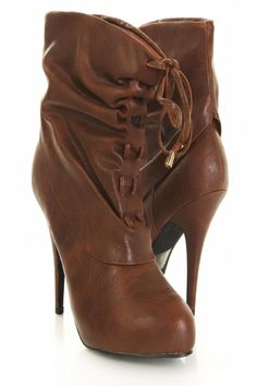 Tan Faux Leather Ruched Interlace Tie Platform Booties http://www.amiclubwear.com/shoes-booties-asi-xs-149-08tan.html#