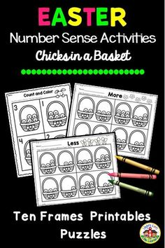 Develop number sense skills for preschool with these Easter counting puzzles and number sense activities. Use to reinforce counting to ten, number recognition, one-to-one correspondence, concepts one more, one less and equal sets. Counting Puzzles, Counting Activities, Sensory Activities, Easter Activities For Preschool, Number Sense Activities, Student Numbers, Printable Frames, Number Recognition, Ten Frames