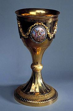Chalice    1795-97    Unknown craftsman    St Petersburg    Gold, silver, cut diamonds and enamel; chased, polished, engraved, pounced and painted