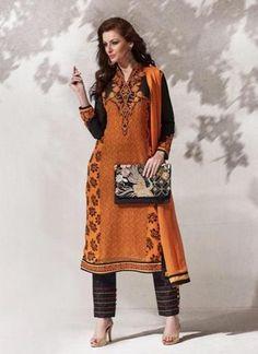 Orange with Lace Work Straight Cut Salwar Kameez Online ,Indian Dresses