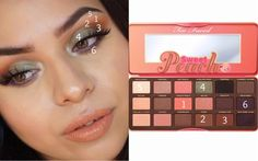 Pear green smokey eye | Too Faced Sweet Peach Palette