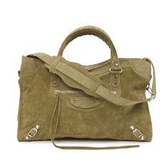 bf66e098cee2 Balenciaga Khaki Suede Classic City Bag