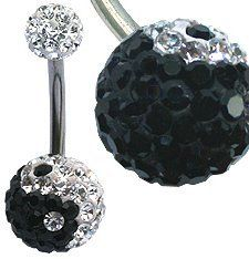 Ying Yang Belly ring by GlitZ JewelZ © - made with over 110 crystals - Surgical Steel bar length 10mm - packed in a lovely velvet pouch GlitZ JewelZ. $12.99