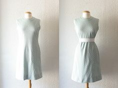 1960s Seafoam Green and White Polka Dot Shift by SchoolofVintage, $39.00