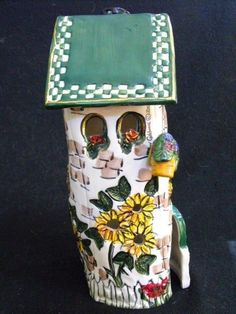 Sunflower House Tea Light Holder from Blue Sky Clayworks by Heather Goldminc2000 #BlueSkyClayworks