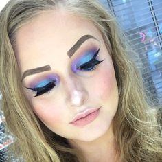 White Eyeliner, No Eyeliner Makeup, Winged Eyeliner, Purple Smokey Eye, Purple Eyeshadow, Fair Skin Makeup, Nude Lipstick, Mermaid Makeup, Blue Makeup