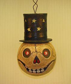 Beistle inspired hanging skeleton lantern luminary,   $95.00