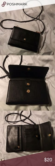 Crossbody wallet, bag purse Black trifold wallet purse, 5 slots for credit cards or ID.  Zipper for change and another compartment for $$$. Strap is not adjustable. Width 7 Length 5 Strap 44  4 Forever 21 Bags Crossbody Bags