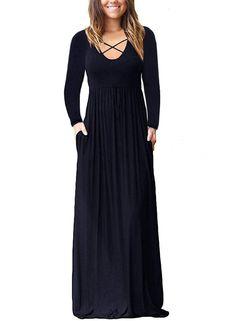 eeda72a9f3b9d Maternity Outfits - cool maternity maxi dress : Lovezesent Womens Long  Sleeve Criss Cross Neck Casual