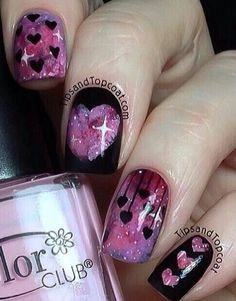 Galaxy aren't just for the outer space only. You can now send your love through the galaxy…on your nails. You can look for some tutorials on how to achieve a galaxy nail. Plus covering it with some black designs (heart shaped of course) would complete this trendy look.