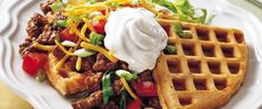Tostada Waffles - cross the border to a new waffle! Topped with tostado fixin& these waffles can be served. Mexican Dishes, Mexican Food Recipes, Beef Recipes, Cooking Recipes, Polenta Recipes, What's Cooking, Recipies, Tostadas, Tacos