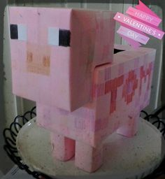 Minecraft Pig Valentine Box   Made With Pink Paper, Crayons, Tissue Boxes,  TP Cores, U0026 Tape.