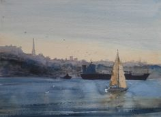 Evening Sailing is a watercolour of a cargo ship starting to move down the River Mersey in Liverpool, in the foreground is a smaller sailing boat that shares the scene, it has lovely warm coloured sails that appear as reflections in the river. NOT FOR SALE