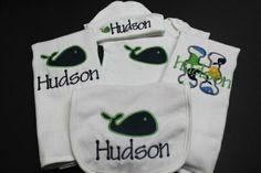 Baby Boy Shower Gift - Custom Monogrammed Whale Onesie, Hat, Bib and 2 Burp Cloths