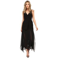 Halston Heritage  Sleeveless Deep V-Neck Crepe Dress with Flowy Skirt  $189.99