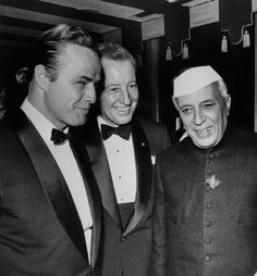 Marlon Brando being introduced to the prime minster of India Jawaharlal Nehru in early 1960s.