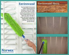 Dusting this weekend? The #NorwexEnviroWand is the perfect product for you! It's dual-sided sided sleeve is constructed of Norwex Microfiber and slips on the wand, which can be bent to create multiple angles.  It's also one of the specials this month! Learn more: http://www.norwex.biz/pws/home2999999/tabs/specials--sales.aspx