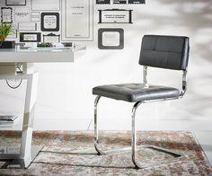 DELIFE Freischwinger Oktavian 49x85 cm Schwarz Chromgestell, Esszimmerstühle Jetzt bestellen unter: https://moebel.ladendirekt.de/kueche-und-esszimmer/stuehle-und-hocker/freischwinger/?uid=48a08520-daaa-521a-a7bc-afeab66dc0b3&utm_source=pinterest&utm_medium=pin&utm_campaign=boards #freischwinger #kueche #esszimmer #hocker #stuehle