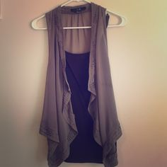 Forever21 sheer light brown loose vest Light brown, sheer, loose vest. It has beading on the edges. There are a few beads that fell off but hard to tell because beading is spread out Forever 21 Tops